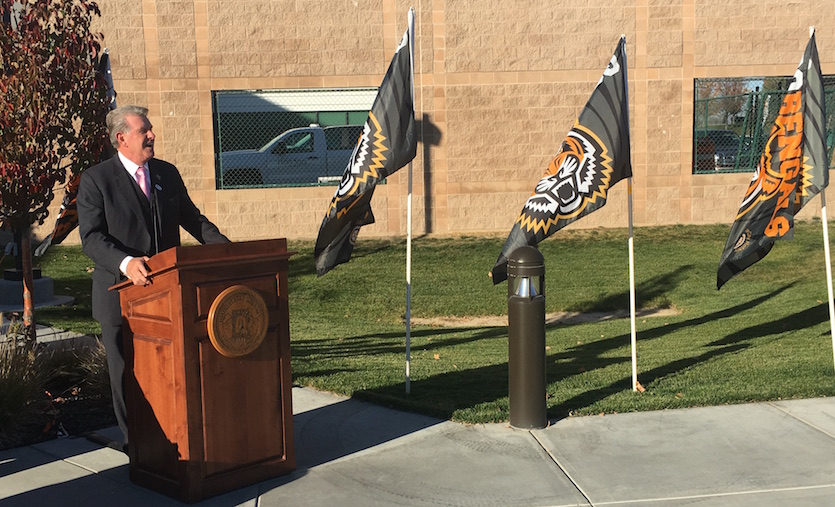 Gov. Otter, ICOM founders and Idaho State University president place flags to mark site of proposed medical school; unveil building rendering