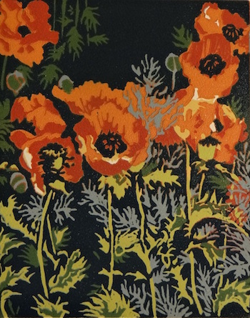 A paointing of orange poppies titled