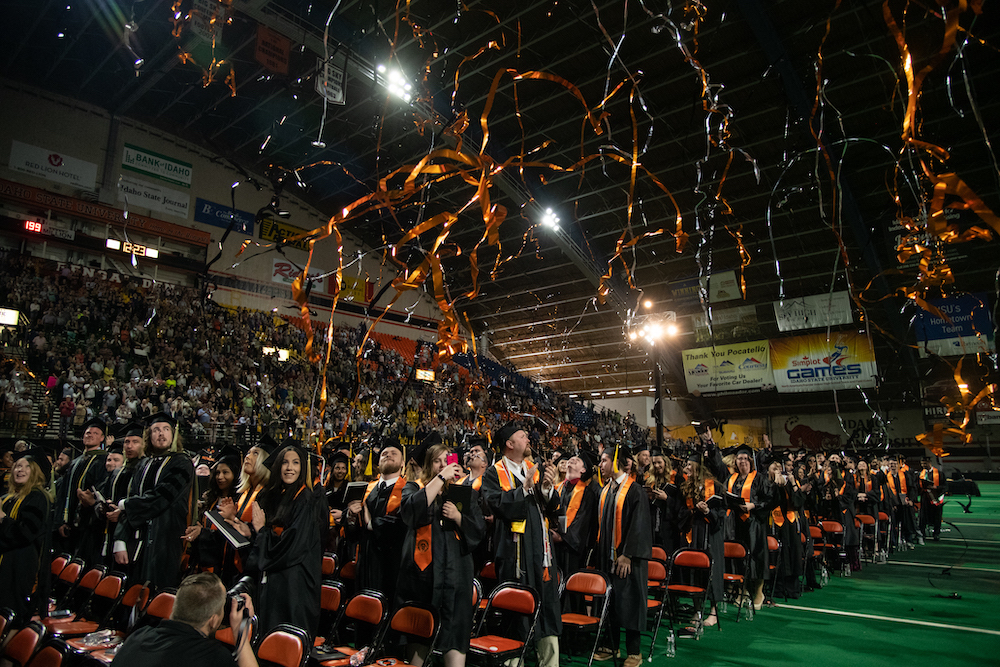 Streamers falling on graduates at commencement