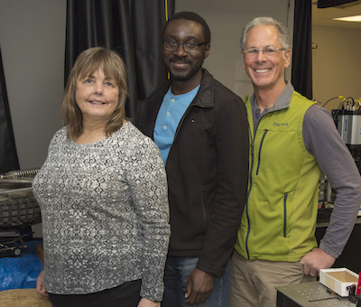 Three of the members of the research team, Lisa Lau, David Unobe and John Kalivas.