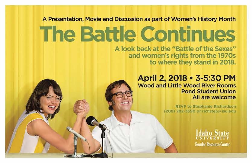 "ISU Gender Resource Center to host ""The Battle Continues,"" a look at women's rights, on April 2"