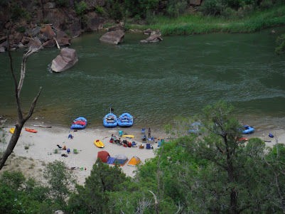 View of river camp from up above.