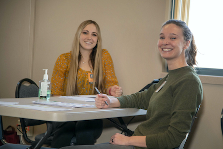 Two nursing students who participated calling COVID19