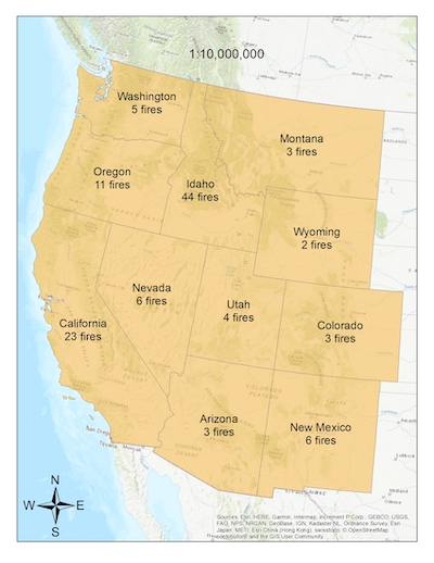 Map showing number of fires in each of the western states where the RECOVER tool has been used.
