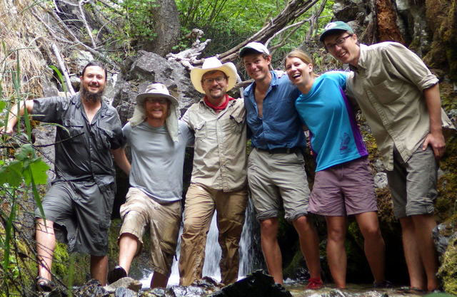Top of Transect 5 by the waterfall on Cougar Creek 2014 Big Creek Crew, Matt Schenk, Adam Eckersell, Colden Baxter, John Whiting, Mirijam Scharer and Martin Ventura.