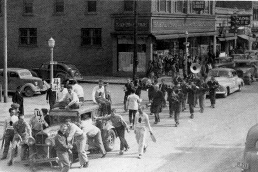 Homecoming parade in the 1950's
