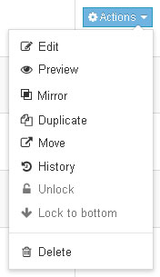 Preview is an option in the content action menu