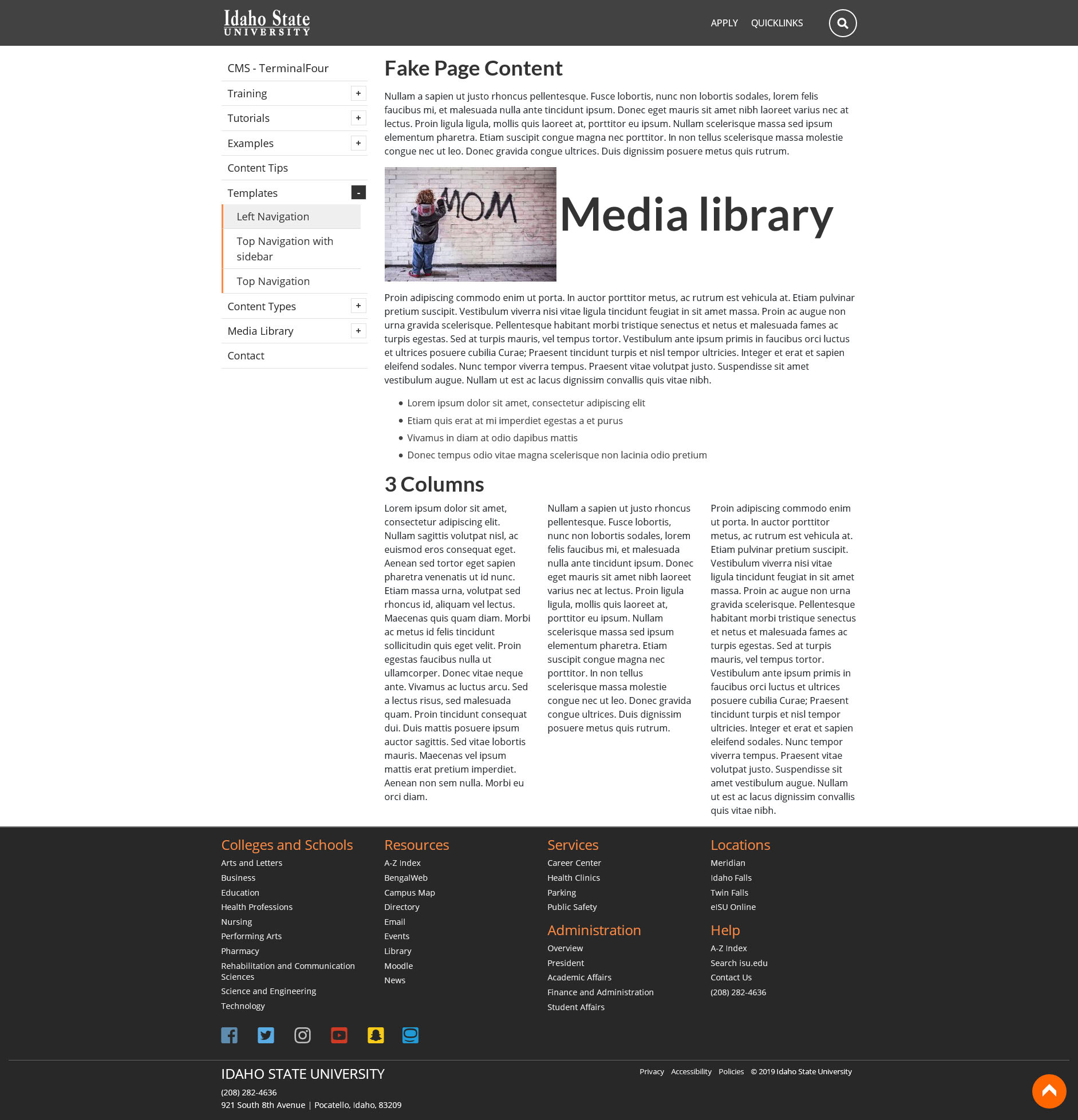 Sample website with media library labeled