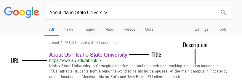 google results with URL, title, and description labeled