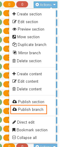 Publish branch option in the site structure menu