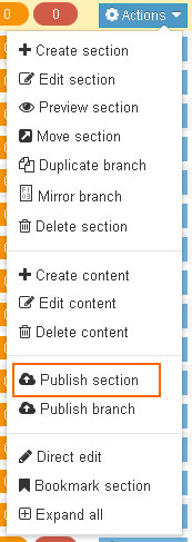 Publish section button in action menu