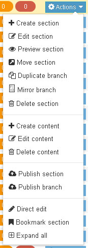 Preview Section is an option in the Site structure action menu