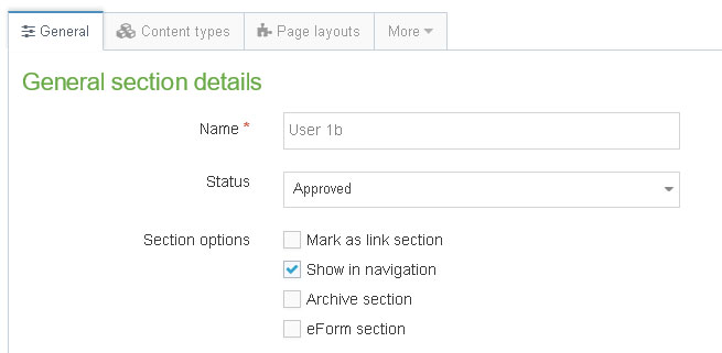 Creating section User 1b