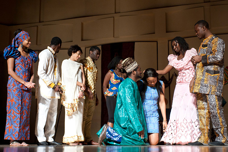 African students in traditional garments